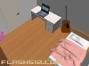 逃出吉它房间-一个非常精致的房间,床单是粉红色的,床边..