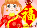 新春红旗袍女