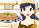 美女做苹果蛋糕