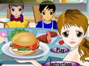 美女经营快餐汉堡店
