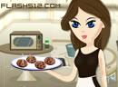 美女做巧克力饼干