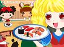 美女繁忙寿司吧