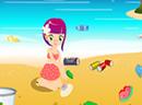 小美女海边扫垃圾