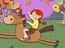 可爱女孩骑小马