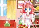 少女布置可爱糖果店