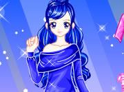 可爱蓝色时尚美女