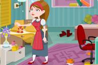 勤劳小女仆做家务