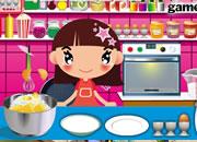 小女孩做甜美小蛋糕
