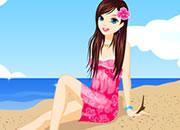 海滩可爱少女