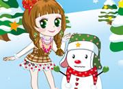 可爱小公主和雪人