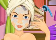 给美女洗澡涂面霜