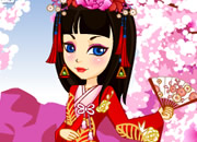 日本古典华丽公主-娇美可爱的少女幽雅赏樱花,请你来她换上风..