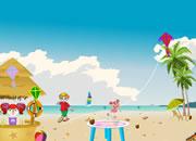 海滩做风筝
