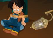 机灵男孩逃出绑架屋