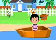 救助船上的小男孩