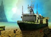 孤岛旧船逃离
