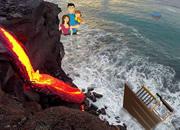 营救一家人逃离火山